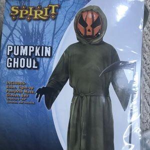 Pumpkin Head Ghoul Light up Costume NEW